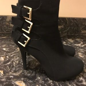 Black Heel Boots with Gold Buckles